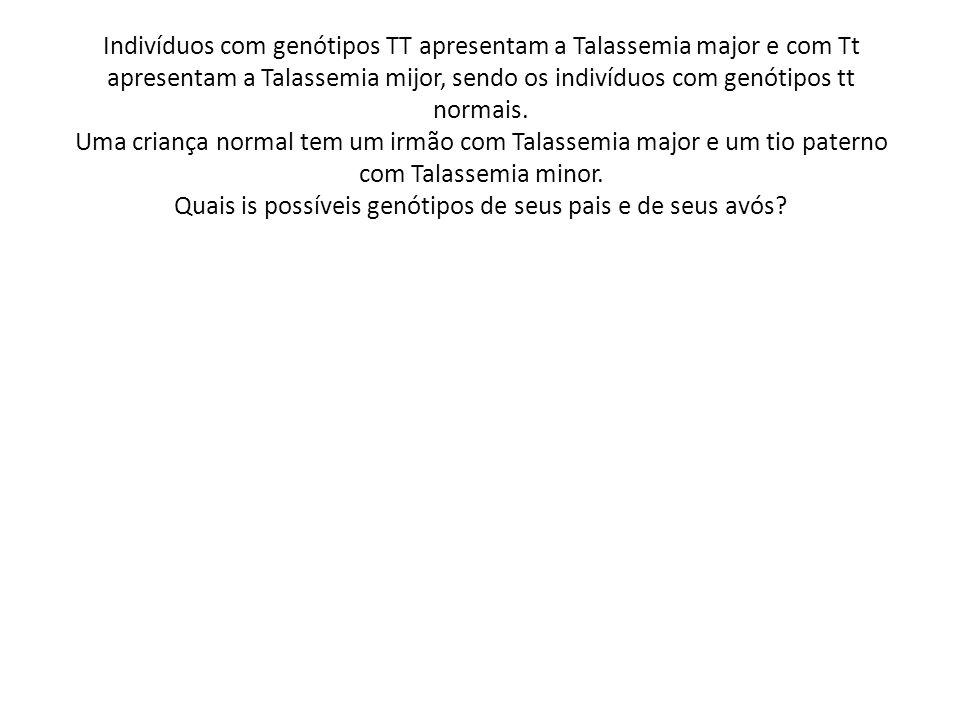 Indivíduos com genótipos TT apresentam a Talassemia major e com Tt apresentam a Talassemia mijor, sendo os indivíduos com genótipos tt normais. Uma cr