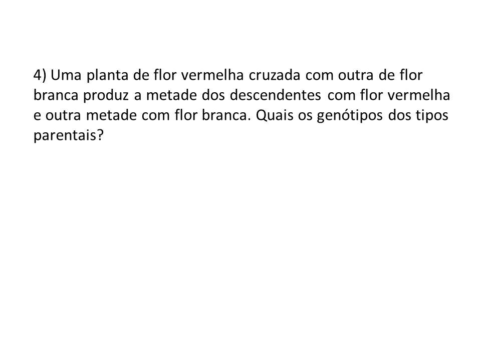 5) Se cruzarmos entre si as plantas de flores vermelhas do problema anterior, quais serão os genótipos dos descendentes?