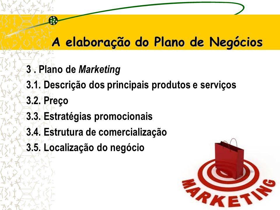 14 A elaboração do Plano de Negócios 3.Plano de Marketing 3.1.