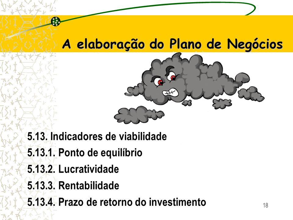 18 A elaboração do Plano de Negócios 5.13.Indicadores de viabilidade 5.13.1.