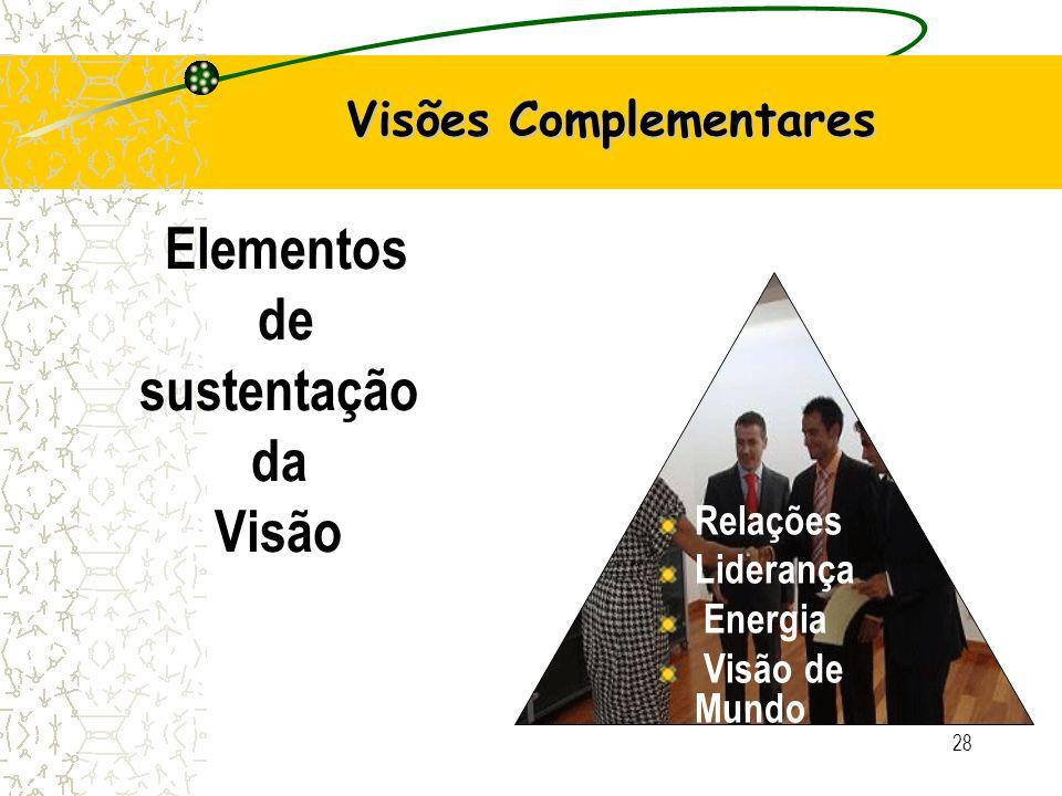 28 Visões Complementares Relações Liderança Energia Visão de Mundo Elementos de sustentação da Visão