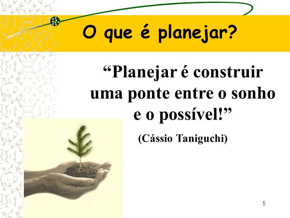 5 Planejar é construir uma ponte entre o sonho e o possível! (Cássio Taniguchi) O que é planejar?