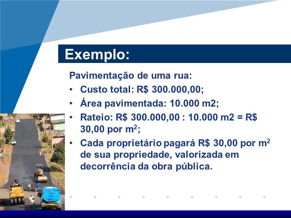 Exemplo: Pavimentação de uma rua: Custo total: R$ 300.000,00; Área pavimentada: 10.000 m2; Rateio: R$ 300.000,00 : 10.000 m2 = R$ 30,00 por m 2 ; Cada