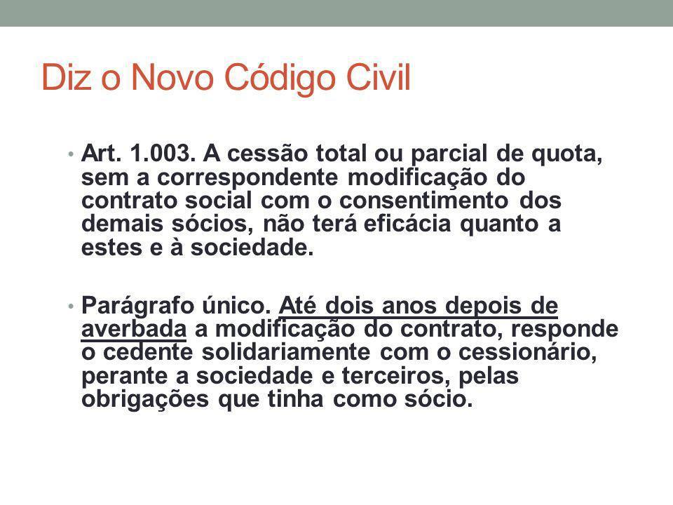 Diz o Novo Código Civil Art. 1.003. A cessão total ou parcial de quota, sem a correspondente modificação do contrato social com o consentimento dos de