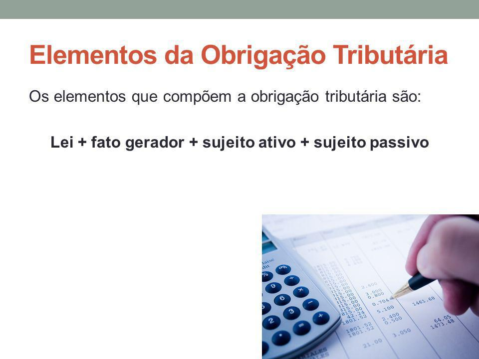Elementos da Obrigação Tributária Os elementos que compõem a obrigação tributária são: Lei + fato gerador + sujeito ativo + sujeito passivo