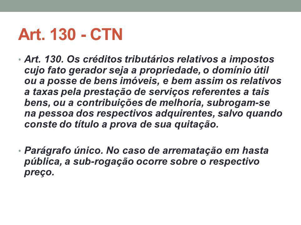 Art. 130 - CTN Art. 130. Os créditos tributários relativos a impostos cujo fato gerador seja a propriedade, o domínio útil ou a posse de bens imóveis,