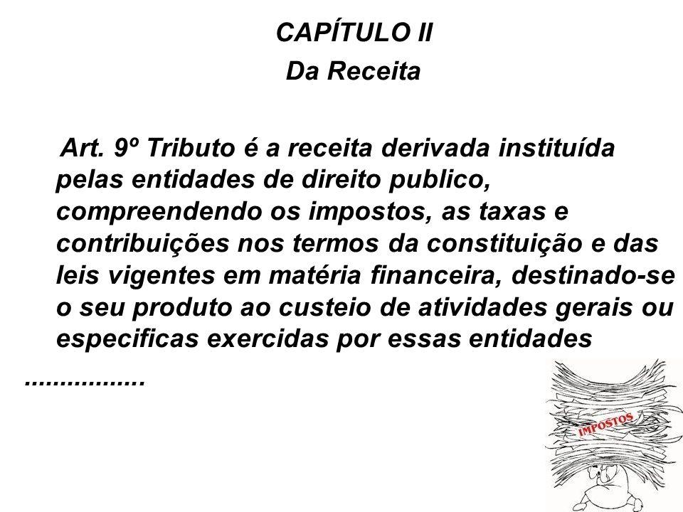 12 CAPÍTULO II Da Receita Art. 9º Tributo é a receita derivada instituída pelas entidades de direito publico, compreendendo os impostos, as taxas e co
