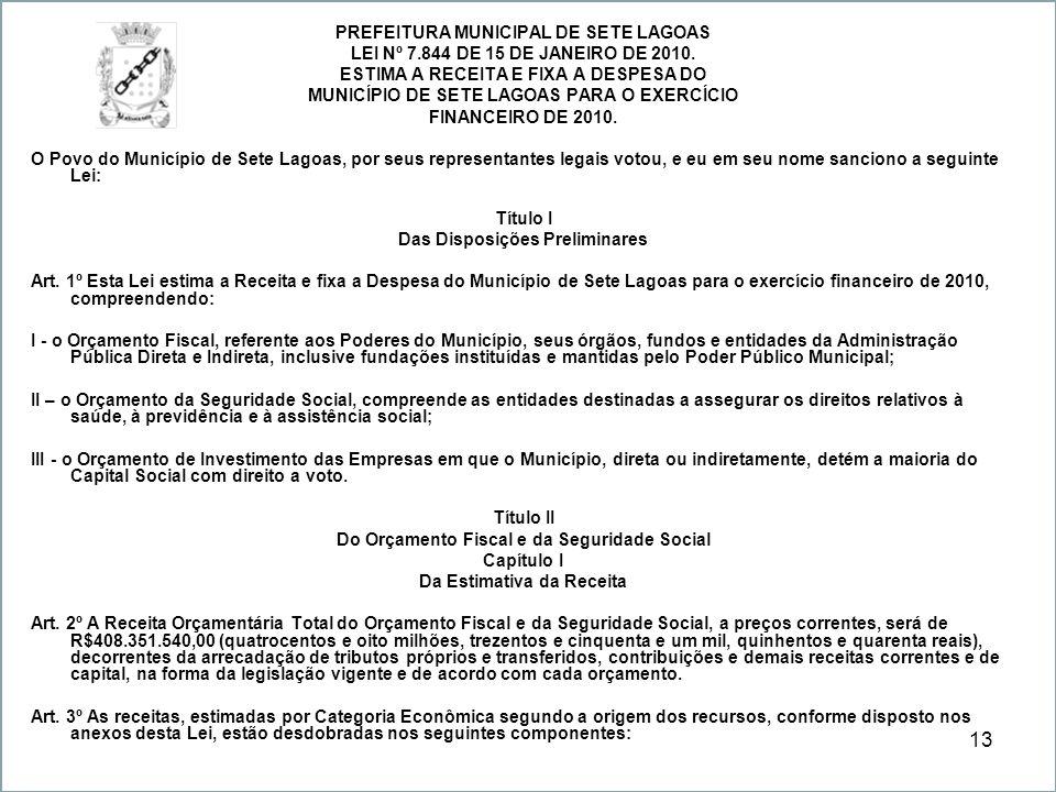 13 PREFEITURA MUNICIPAL DE SETE LAGOAS LEI Nº 7.844 DE 15 DE JANEIRO DE 2010. ESTIMA A RECEITA E FIXA A DESPESA DO MUNICÍPIO DE SETE LAGOAS PARA O EXE