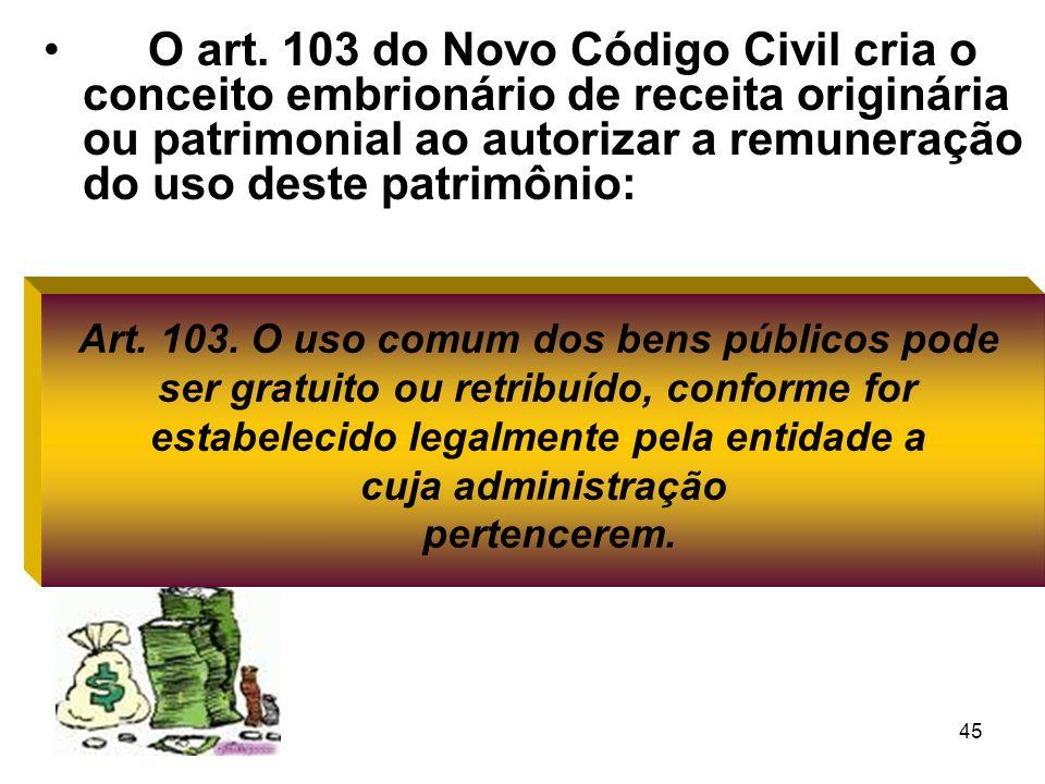 45 O art. 103 do Novo Código Civil cria o conceito embrionário de receita originária ou patrimonial ao autorizar a remuneração do uso deste patrimônio