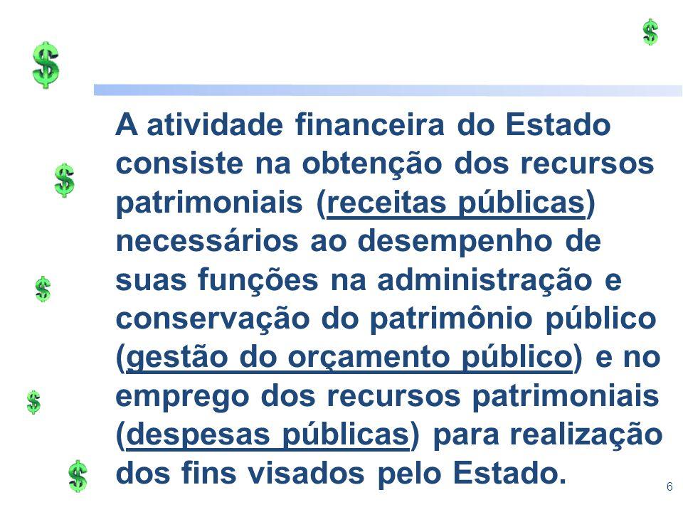 6 A atividade financeira do Estado consiste na obtenção dos recursos patrimoniais (receitas públicas) necessários ao desempenho de suas funções na adm