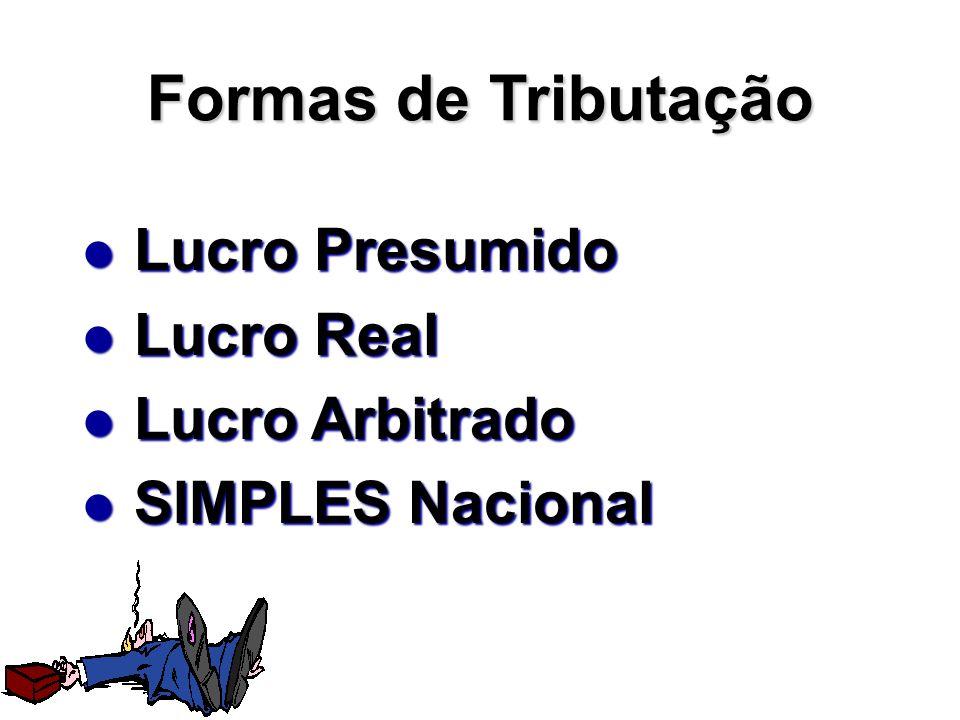 Formas de Tributação Lucro Presumido Lucro Presumido Lucro Real Lucro Real Lucro Arbitrado Lucro Arbitrado SIMPLES Nacional SIMPLES Nacional