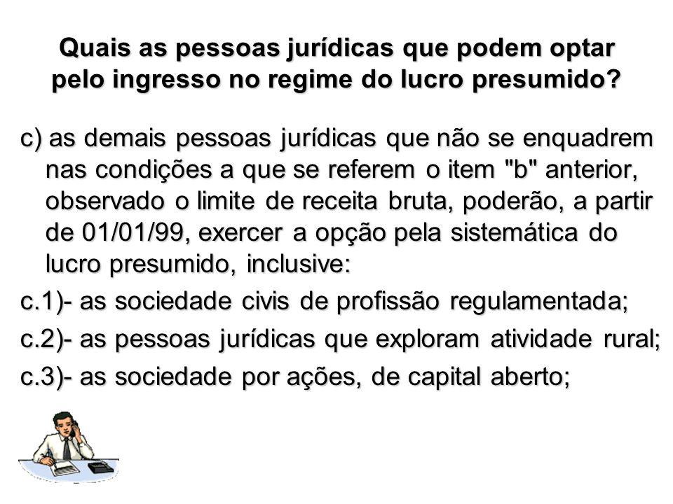 Quais as pessoas jurídicas que podem optar pelo ingresso no regime do lucro presumido? c) as demais pessoas jurídicas que não se enquadrem nas condiçõ