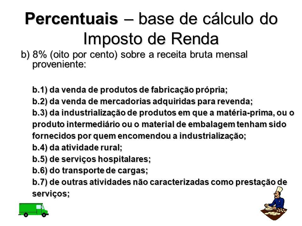 b) 8% (oito por cento) sobre a receita bruta mensal proveniente: b.1) da venda de produtos de fabricação própria; b.2) da venda de mercadorias adquiri