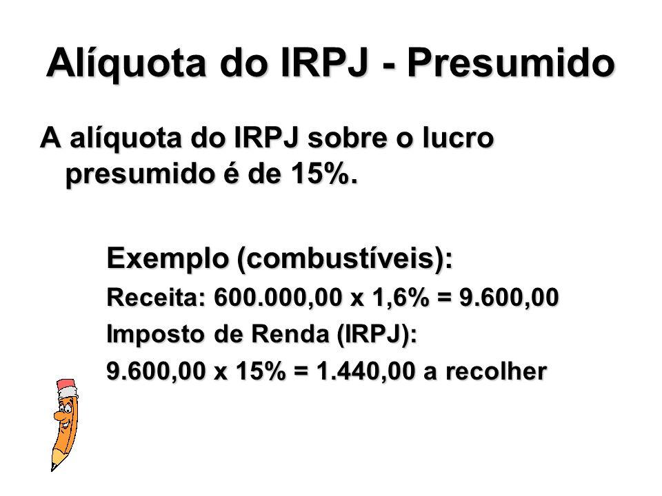 Alíquota do IRPJ - Presumido A alíquota do IRPJ sobre o lucro presumido é de 15%. Exemplo (combustíveis): Receita: 600.000,00 x 1,6% = 9.600,00 Impost