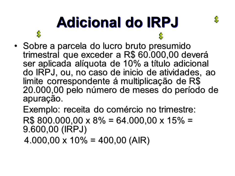 Adicional do IRPJ Sobre a parcela do lucro bruto presumido trimestral que exceder a R$ 60.000,00 deverá ser aplicada alíquota de 10% a título adiciona