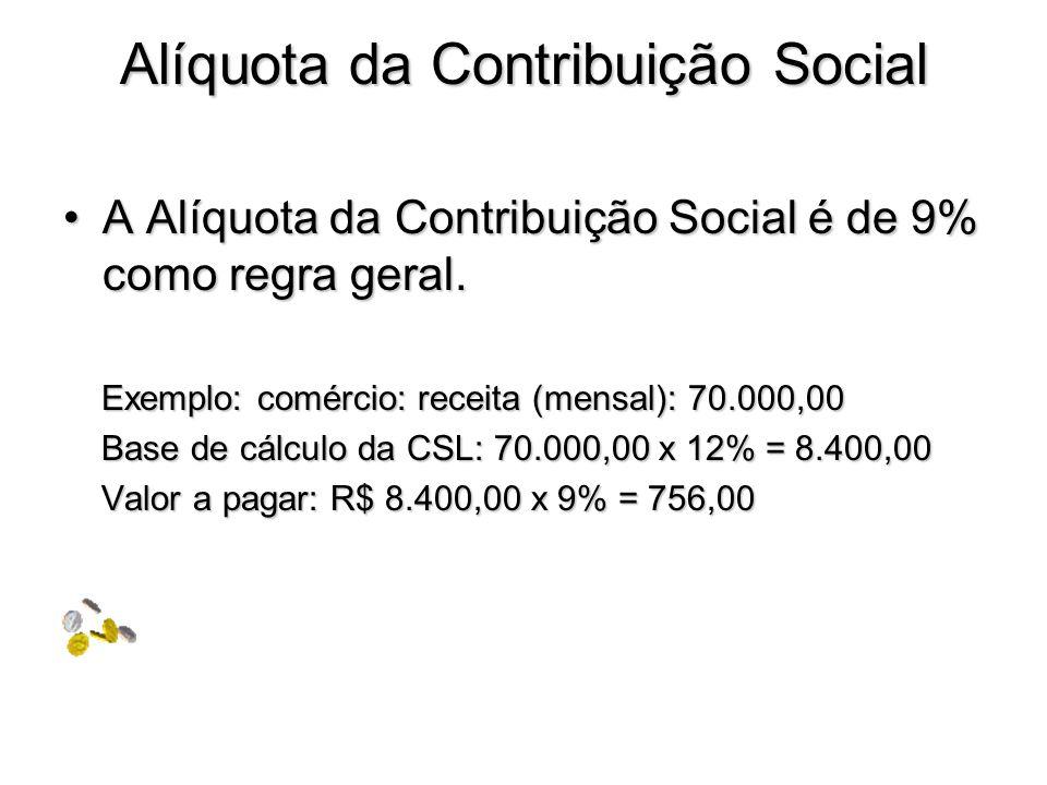 Alíquota da Contribuição Social A Alíquota da Contribuição Social é de 9% como regra geral.A Alíquota da Contribuição Social é de 9% como regra geral.