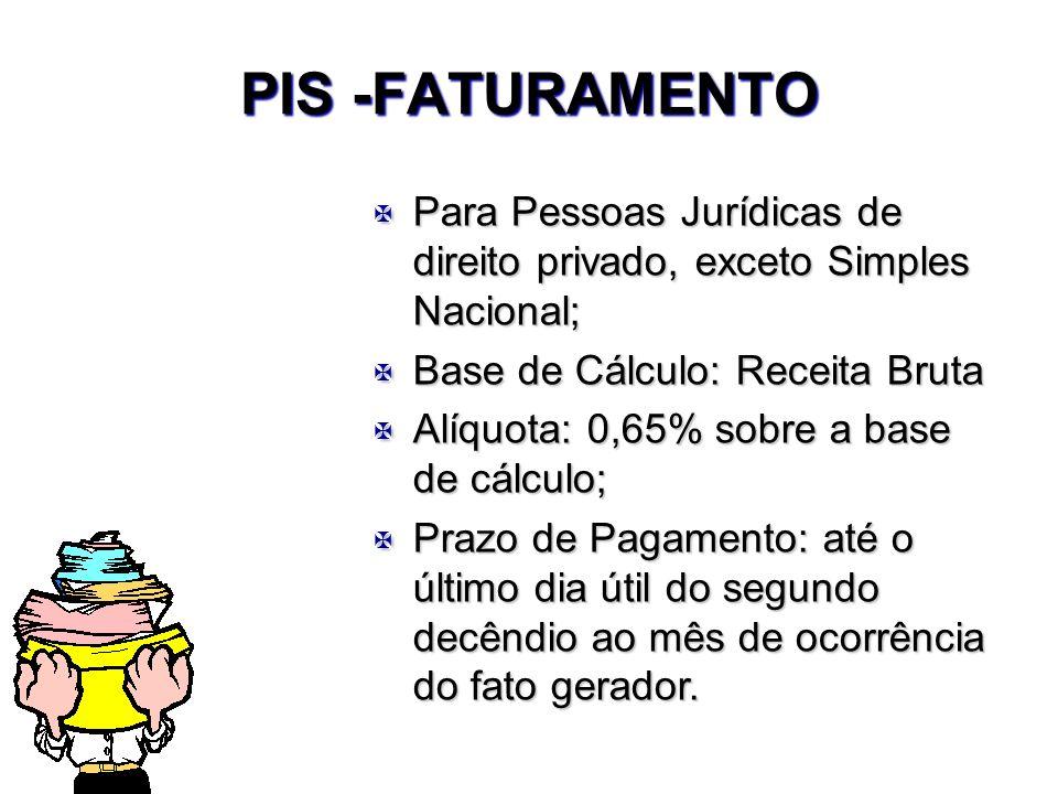 PIS -FATURAMENTO X Para Pessoas Jurídicas de direito privado, exceto Simples Nacional; X Base de Cálculo: Receita Bruta X Alíquota: 0,65% sobre a base