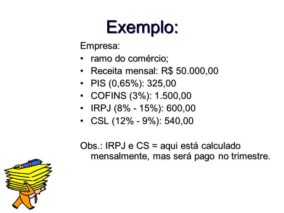 Exemplo: Empresa: ramo do comércio;ramo do comércio; Receita mensal: R$ 50.000,00Receita mensal: R$ 50.000,00 PIS (0,65%): 325,00PIS (0,65%): 325,00 C