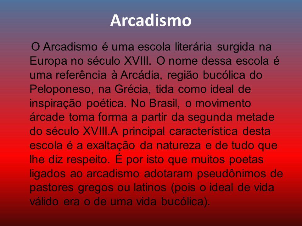 Arcadismo O Arcadismo é uma escola literária surgida na Europa no século XVIII. O nome dessa escola é uma referência à Arcádia, região bucólica do Pel