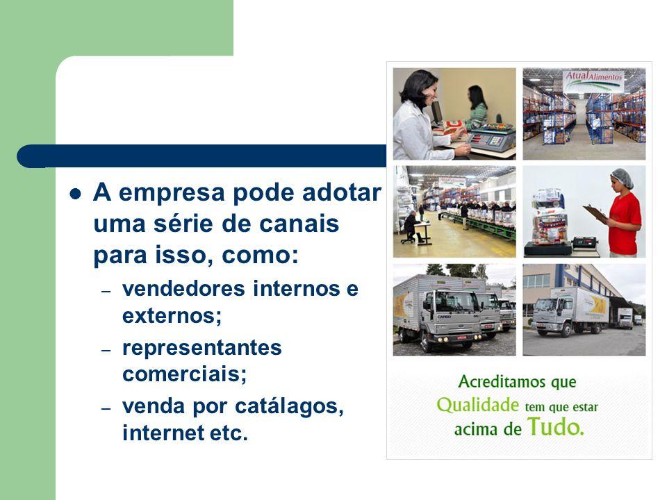 A empresa pode adotar uma série de canais para isso, como: – vendedores internos e externos; – representantes comerciais; – venda por catálagos, internet etc.