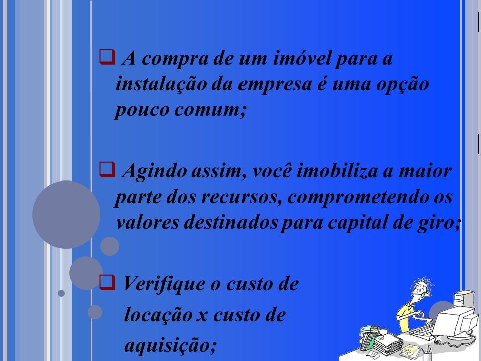 20/05/09 A compra de um imóvel para a instalação da empresa é uma opção pouco comum; Agindo assim, você imobiliza a maior parte dos recursos, comprometendo os valores destinados para capital de giro; Verifique o custo de locação x custo de aquisição;