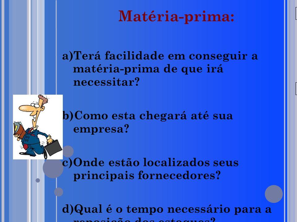 20/05/09 Matéria-prima: a)Terá facilidade em conseguir a matéria-prima de que irá necessitar.