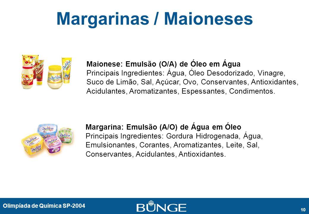 Olimpíada de Química SP-2004 10 Margarinas / Maioneses Maionese: Emulsão (O/A) de Óleo em Água Principais Ingredientes: Água, Óleo Desodorizado, Vinag