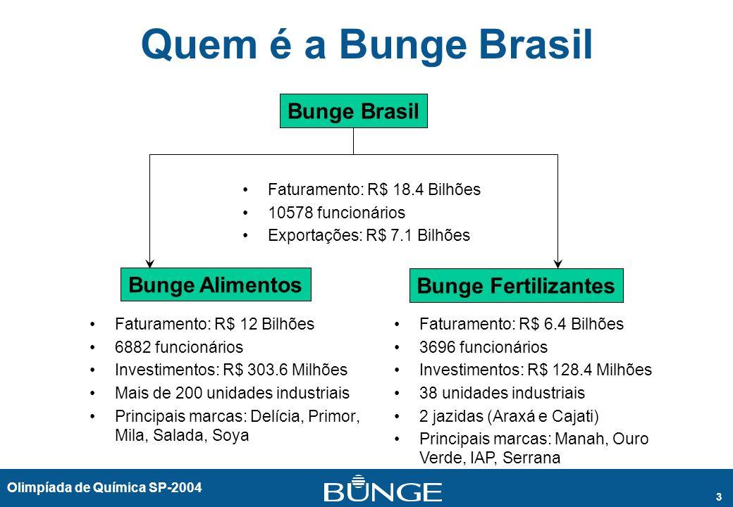 Olimpíada de Química SP-2004 3 Quem é a Bunge Brasil Faturamento: R$ 12 Bilhões 6882 funcionários Investimentos: R$ 303.6 Milhões Mais de 200 unidades