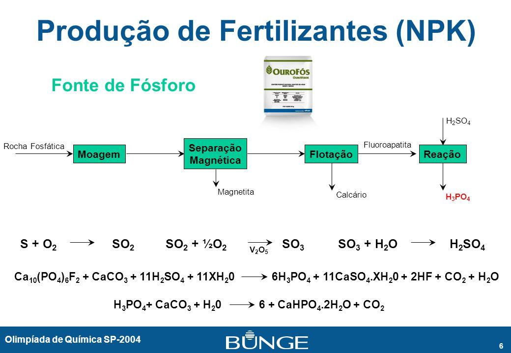 Olimpíada de Química SP-2004 6 Produção de Fertilizantes (NPK) Fonte de Fósforo S + O 2 SO 2 Ca 10 (PO 4 ) 6 F 2 + CaCO 3 + 11H 2 SO 4 + 11XH 2 0 6H 3