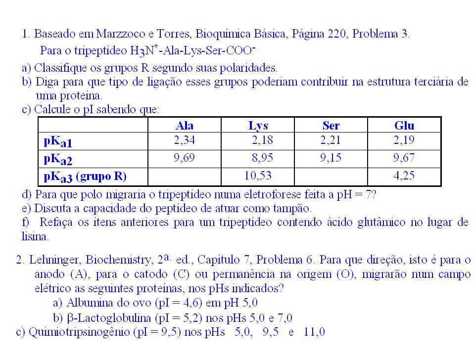 O grupo R pode ser classificado em: *Polares-sem carga (ou hidrofílico)-com carga + -com carga - *Apolares-com cadeia alifática (ou hidrofóbico)-com cadeia aromática Ala Lys Ser Apolar com cadeia alifática Polar com carga positiva em pH 7 (pKa da Lys:10,53) Polar sem carga Glu Polar com carga negativa em pH 7 (pKa da Glu: 4,25 ) a)