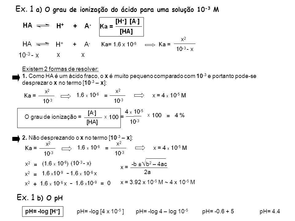 Ex. 1 a) O grau de ionização do ácido para uma solução 10 -3 M Existem 2 formas de resolver: 1. Como HA é um ácido fraco, o x é muito pequeno comparad