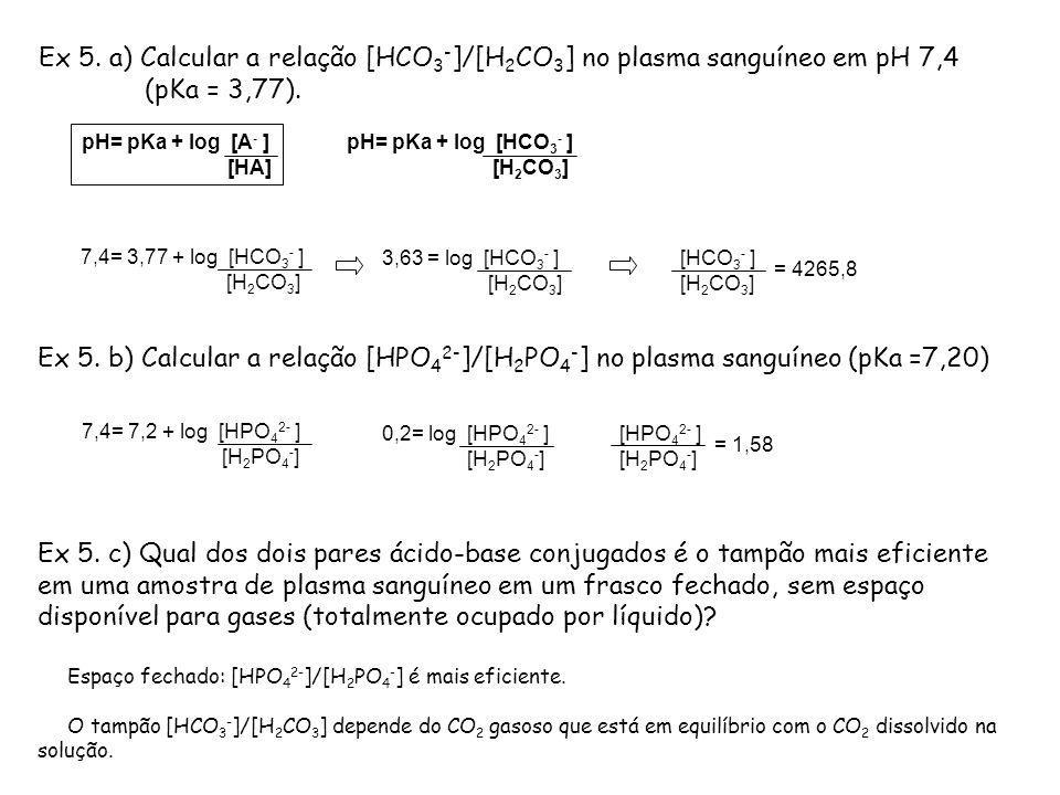 Ex 5. a) Calcular a relação [HCO 3 - ]/[H 2 CO 3 ] no plasma sanguíneo em pH 7,4 (pKa = 3,77). pH= pKa + log [A - ] [HA] pH= pKa + log [HCO 3 - ] [H 2