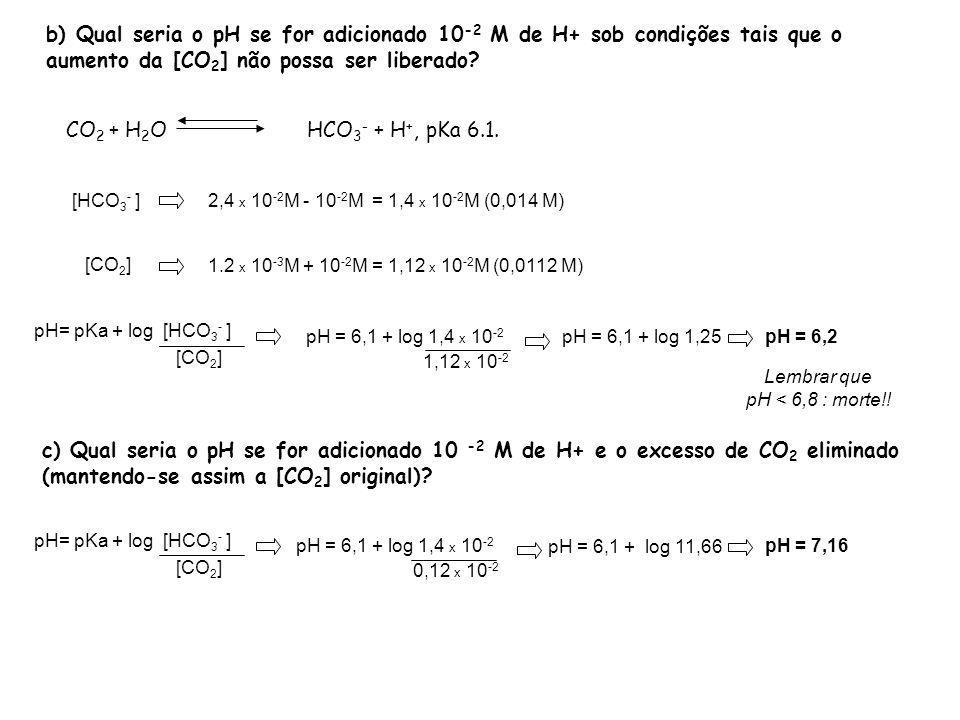 b) Qual seria o pH se for adicionado 10 -2 M de H+ sob condições tais que o aumento da [CO 2 ] não possa ser liberado? CO 2 + H 2 O HCO 3 - + H +, pKa