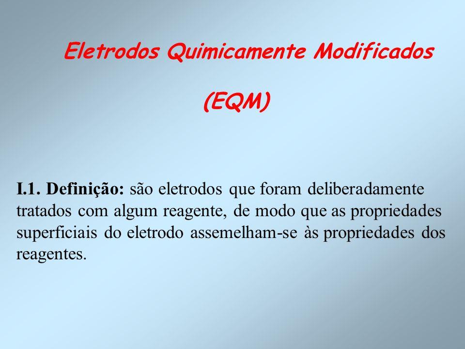 Eletrodos Quimicamente Modificados (EQM) I.1. Definição: são eletrodos que foram deliberadamente tratados com algum reagente, de modo que as proprieda