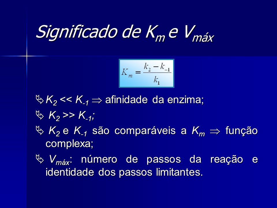 Significado de K m e V máx K 2 << K -1 afinidade da enzima; K 2 << K -1 afinidade da enzima; K 2 >> K -1 ; K 2 >> K -1 ; K 2 e K -1 são comparáveis a