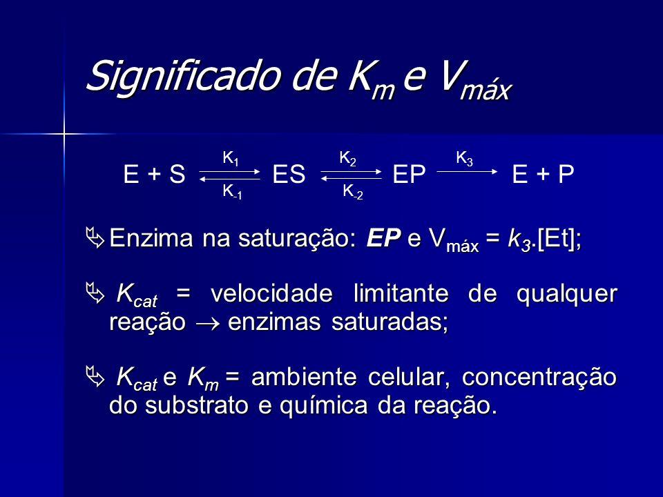 Significado de K m e V máx Enzima na saturação: EP e V máx = k 3.[Et]; Enzima na saturação: EP e V máx = k 3.[Et]; K cat = velocidade limitante de qua