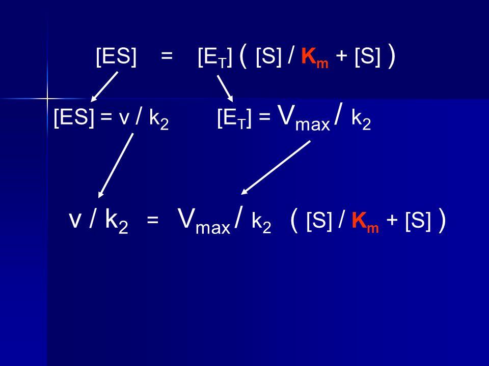 [ES] = [E T ] ( [S] / K m + [S] ) [ES] = v / k 2 [E T ] = V max / k 2 v / k 2 = V max / k 2 ( [S] / K m + [S] )