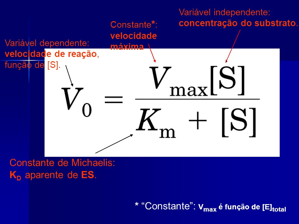 Variável dependente: velocidade de reação, função de [S]. Constante * : velocidade máxima Variável independente: concentração do substrato. Constante