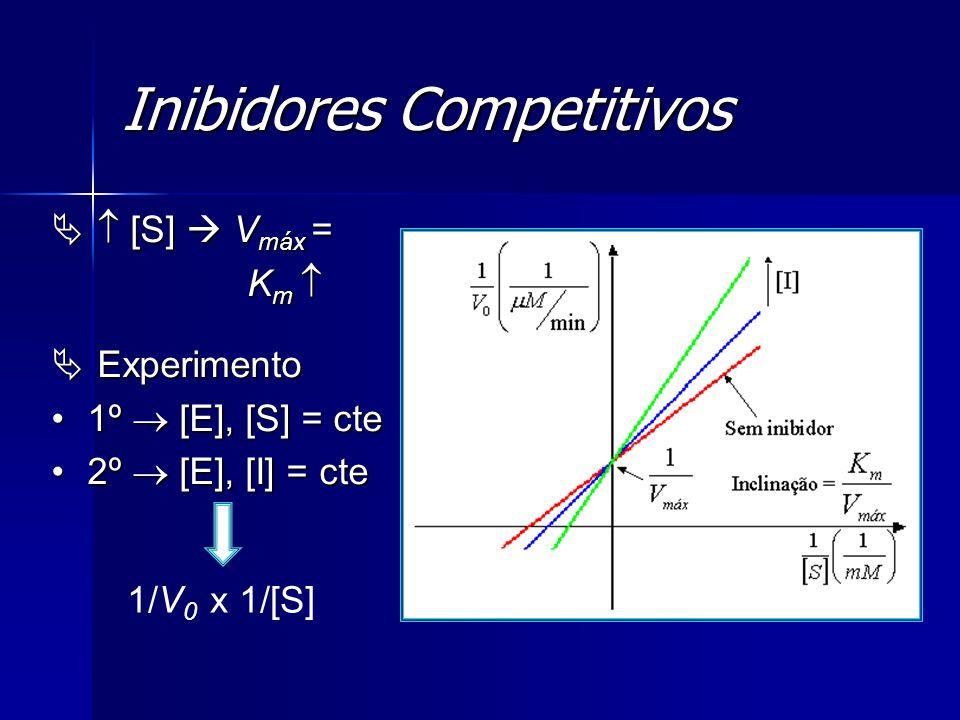 Inibidores Competitivos [S] V máx = [S] V máx = K m K m Experimento Experimento 1º [E], [S] = cte1º [E], [S] = cte 2º [E], [I] = cte2º [E], [I] = cte