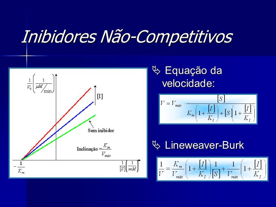 Inibidores Não-Competitivos Equação da velocidade: Equação da velocidade: Lineweaver-Burk Lineweaver-Burk
