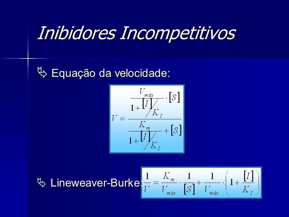 Inibidores Incompetitivos Equação da velocidade: Equação da velocidade: Lineweaver-Burke: Lineweaver-Burke: