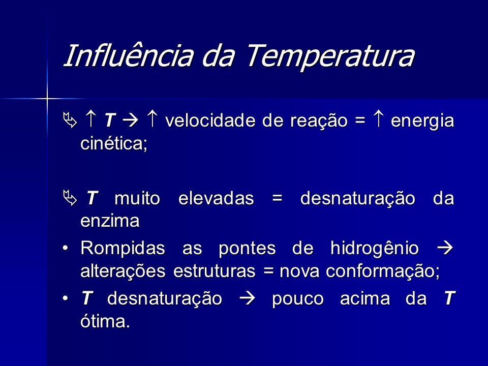 Influência da Temperatura T velocidade de reação = energia cinética; T velocidade de reação = energia cinética; T muito elevadas = desnaturação da enz