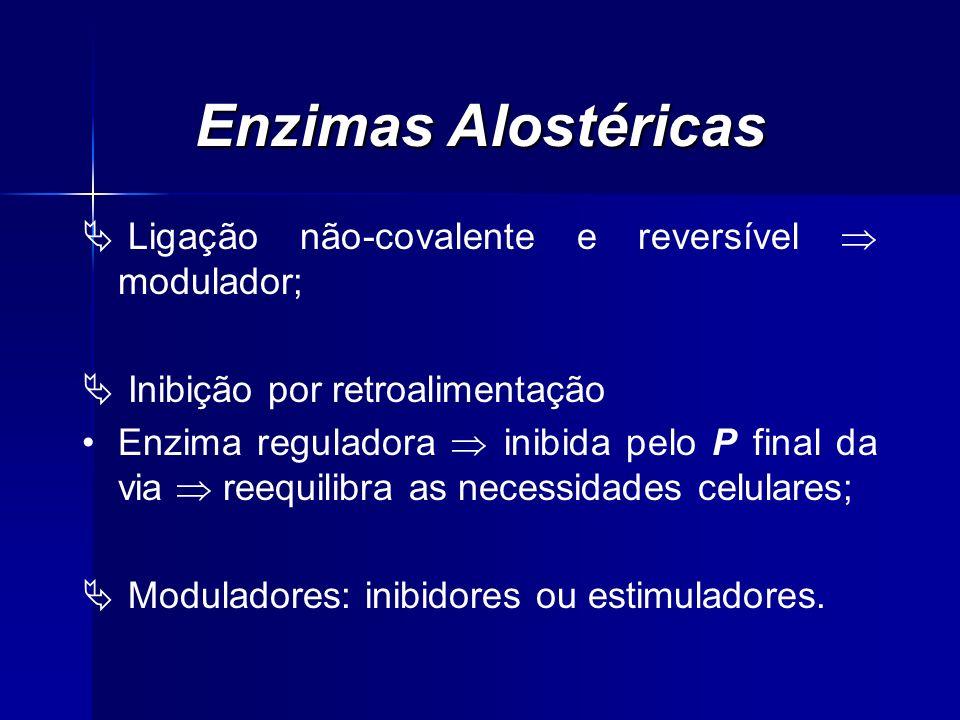 Enzimas Alostéricas Ligação não-covalente e reversível modulador; Inibição por retroalimentação Enzima reguladora inibida pelo P final da via reequili