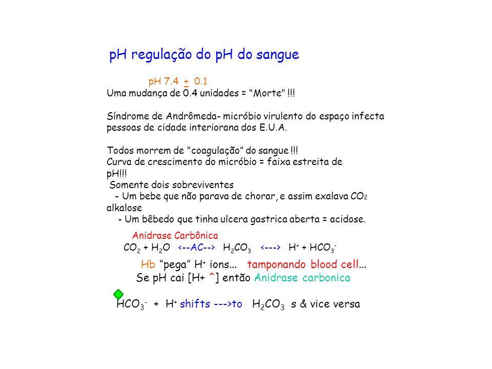 pH regulação do pH do sangue pH 7.4 + 0.1 Uma mudança de 0.4 unidades = Morte !!! Síndrome de Andrômeda- micróbio virulento do espaço infecta pessoas