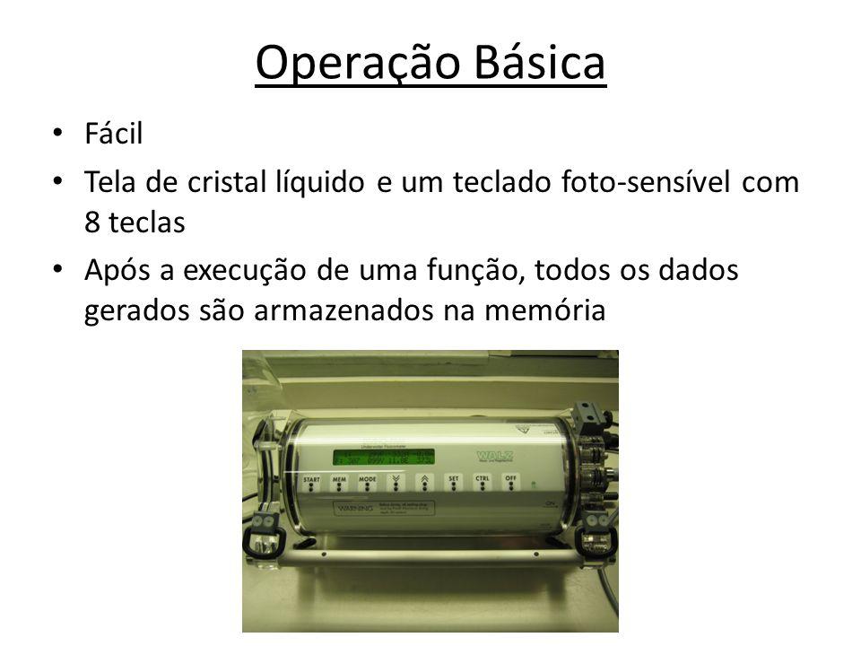 Operação Básica Fácil Tela de cristal líquido e um teclado foto-sensível com 8 teclas Após a execução de uma função, todos os dados gerados são armaze