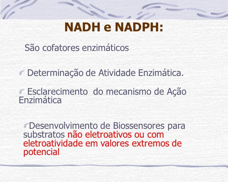 NADH e NADPH: São cofatores enzimáticos Determinação de Atividade Enzimática. Esclarecimento do mecanismo de Ação Enzimática Desenvolvimento de Biosse