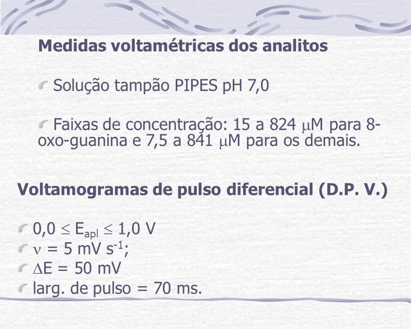 Medidas voltamétricas dos analitos Solução tampão PIPES pH 7,0 Faixas de concentração: 15 a 824 M para 8- oxo-guanina e 7,5 a 841 M para os demais. Vo