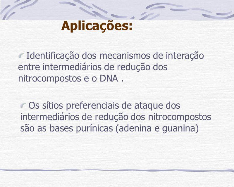 Identificação dos mecanismos de interação entre intermediários de redução dos nitrocompostos e o DNA. Aplicações: Os sítios preferenciais de ataque do