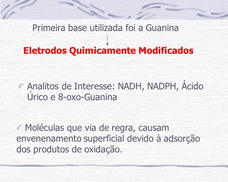 Analitos de Interesse: NADH, NADPH, Ácido Úrico e 8-oxo-Guanina Primeira base utilizada foi a Guanina Eletrodos Quimicamente Modificados Moléculas que