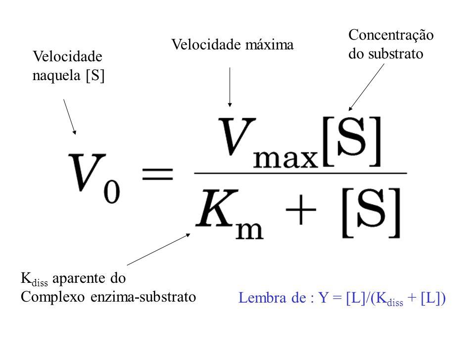 Lembra de : Y = [L]/(K diss + [L]) Velocidade naquela [S] Velocidade máxima Concentração do substrato K diss aparente do Complexo enzima-substrato